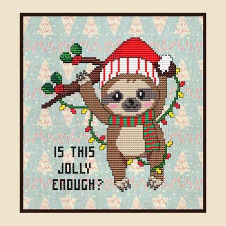 cross stitch pattern Is This Jolly Enough Sloth