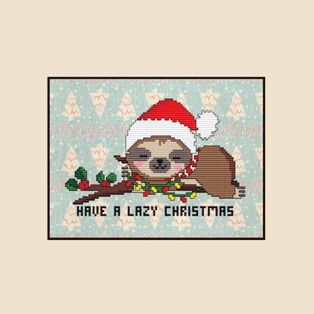 cross stitch pattern Have a Lazy Christmas SLOTH