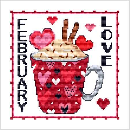 cross stitch pattern A Year Of Mugs - FEBRUARY