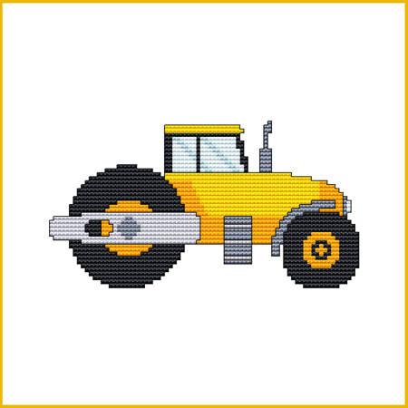 cross stitch pattern Construction Truck - ASPHALT ROLLER