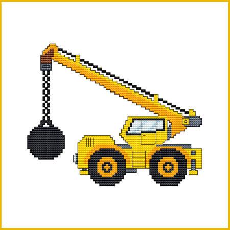 cross stitch pattern Construction Truck - BALL CRANE
