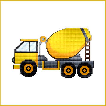 cross stitch pattern Construction Truck - CEMENT TRUCK