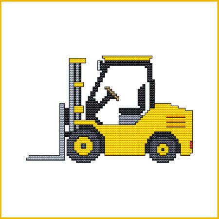 cross stitch pattern Construction Truck - FORKLIFT