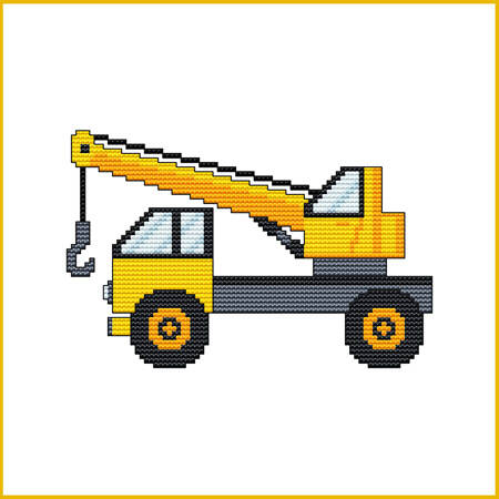 cross stitch pattern Construction Truck - HOOK CRANE