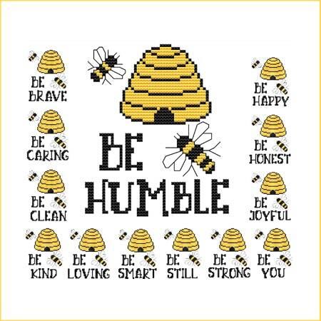 cross stitch pattern Be Humble - Bee Sayings - Beehive