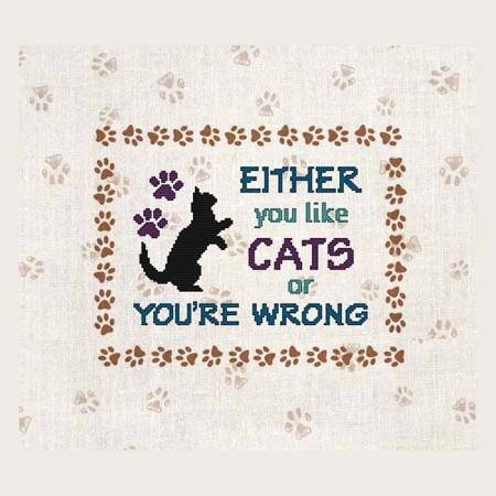 cross stitch pattern EITHER you like CATS or YOU'RE WRONG
