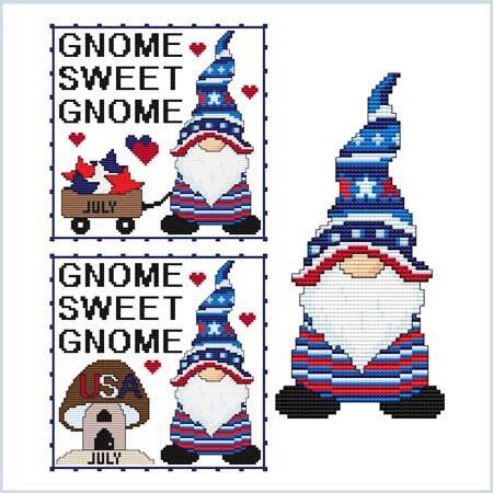 cross stitch pattern A Year Of Gnomes - JULY