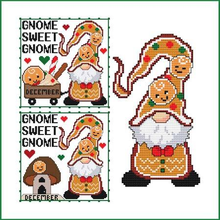 cross stitch pattern A Year Of Gnomes - DECEMBER