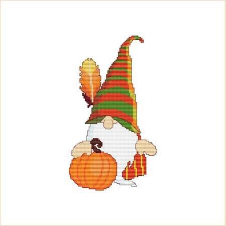 cross stitch pattern Thanksgiving Gnome Fall Pumpkin Feather