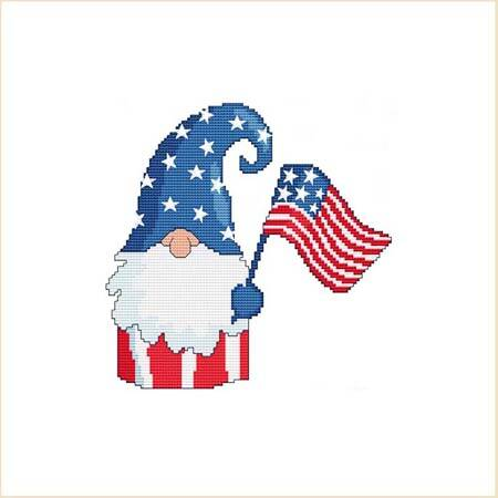 cross stitch pattern Patriotic 4th Of July Flag Gnome