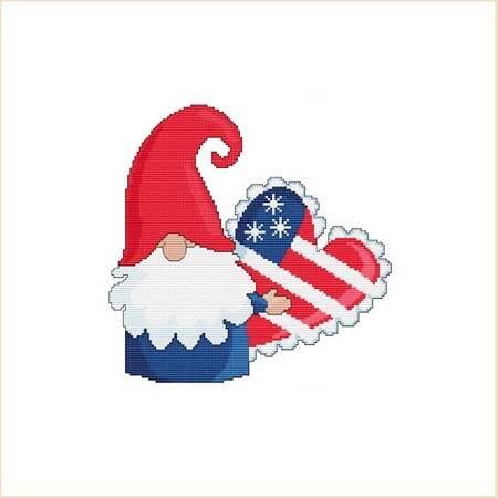 cross stitch pattern Patriotic 4th Of July Heart Pillow Gnome