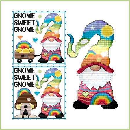 cross stitch pattern A Year Of Gnomes - JUNE