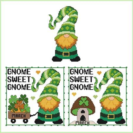 cross stitch pattern A Year Of Gnomes - MARCH