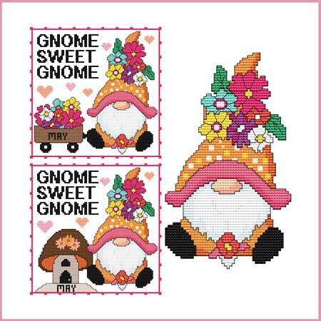 cross stitch pattern A Year Of Gnomes - MAY