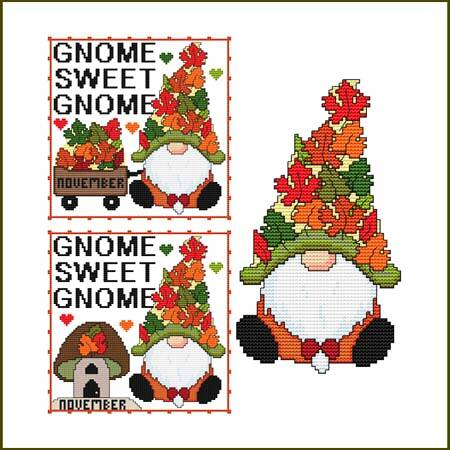 cross stitch pattern A Year Of Gnomes - NOVEMBER