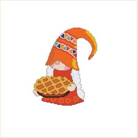 cross stitch pattern Thanksgiving Pie Gnome