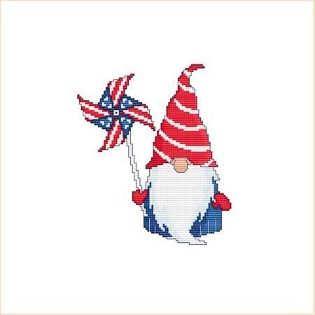 cross stitch pattern Patriotic 4th Of July Pinwheel Gnome