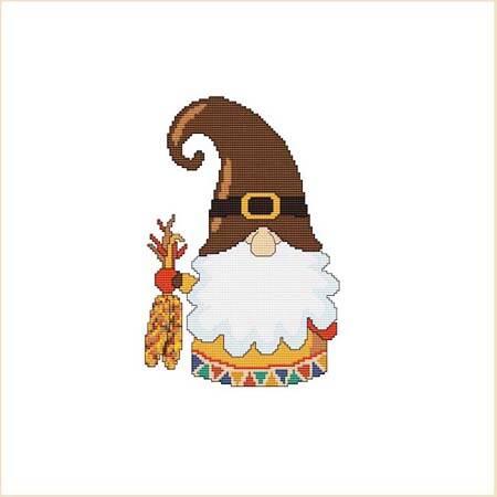 cross stitch pattern Thanksgiving Pilgrim Gnome