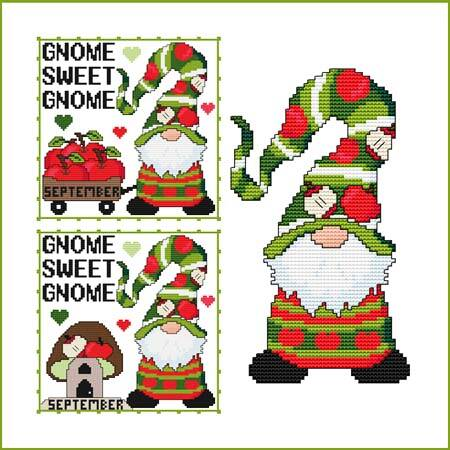 cross stitch pattern A Year Of Gnomes - SEPTEMBER