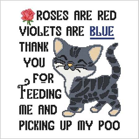 cross stitch pattern Roses Are Red Violets Are Blue .... Poo