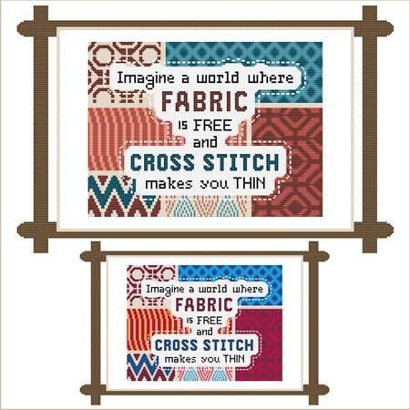 cross stitch pattern Imagine a world-FABRIC free-XSTITCH thin