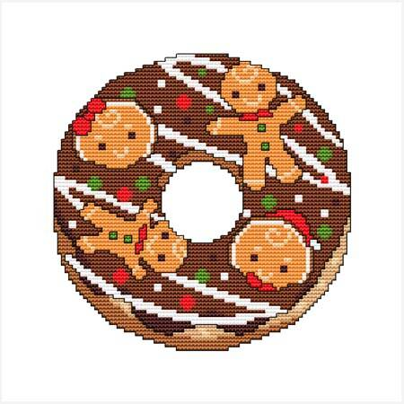 cross stitch pattern A Year Of Donuts - December