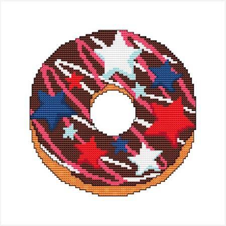 cross stitch pattern A Year Of Donuts - July