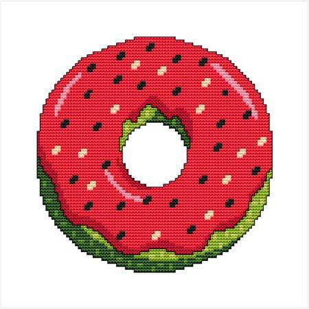 cross stitch pattern A Year Of Donuts - August