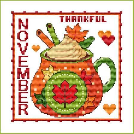 cross stitch pattern A Year of Mugs - NOVEMBER