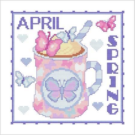 cross stitch pattern A Year Of Mugs - APRIL