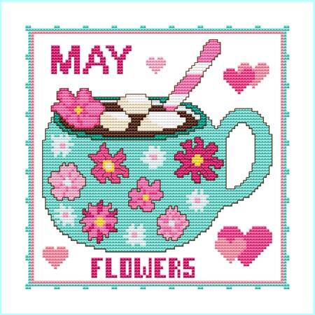 cross stitch pattern A Year Of Mugs - MAY