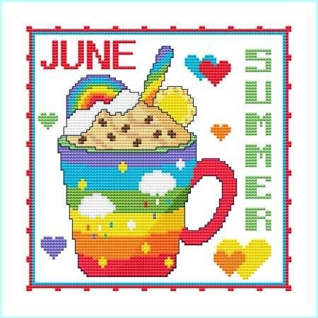cross stitch pattern A Year Of Mugs - JUNE