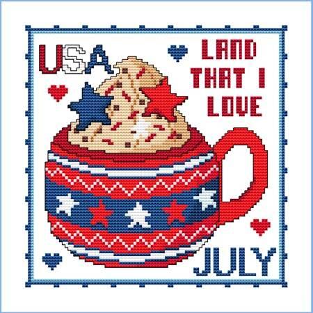 cross stitch pattern A Year of Mugs - JULY