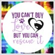 cross stitch pattern You Can't Buy Love You Can Rescue It Cat