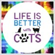 cross stitch pattern Life Is Better With Cats