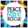 cross stitch pattern Peace Love Rescue