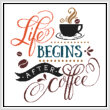 cross stitch pattern Life Begins After Coffee