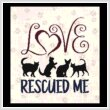 cross stitch pattern Love Rescued Me - Cats