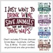 cross stitch pattern I Just Want To Drink SAVE ANIMALS Nap